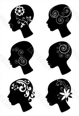 Decorative female heads