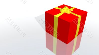 red gift with yellow ribbon
