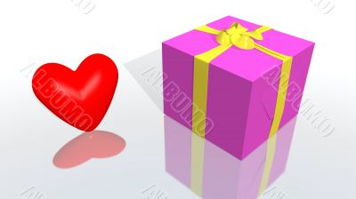 purple gift with yellow ribbon