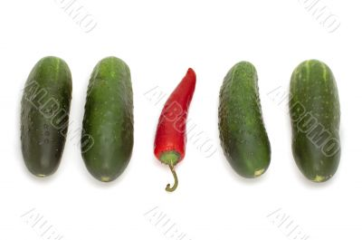 red pepper and cucumber