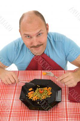 Happy man on a diet