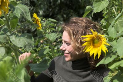 Hiding behind the sunflowers