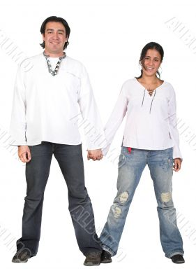 casual couple in white holding hands