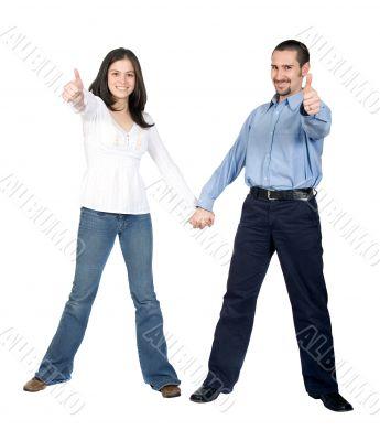 beautiful couple thumbs up