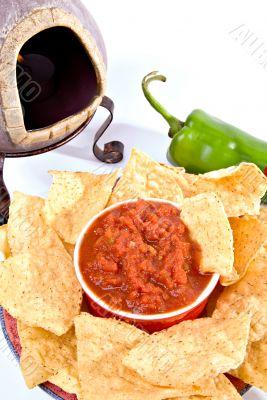 closeup chips, salsa, oven