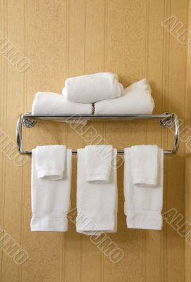 towel rack with white towels