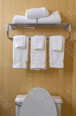 Top of toilet and towel rack