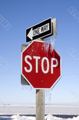 Stop and One Way Signs with Icicles