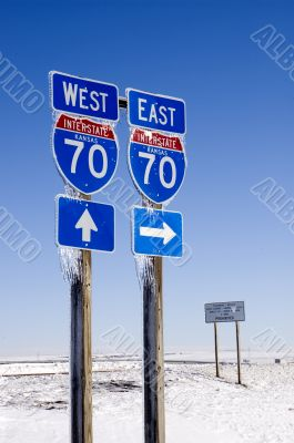 East and West I-70 Signs with Icicles