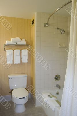 Bathroom with open shower curtain