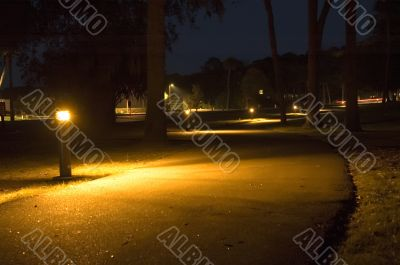 Lit Walking Path at Night