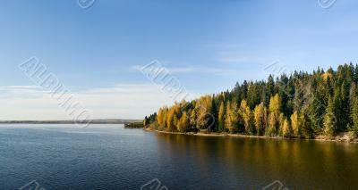 Beautiful autumn landscape. The nature. Panorama