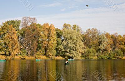 By boats in the autumn