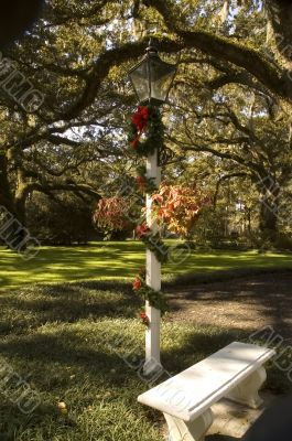 Decorative Lamp with Christmas Wreath and Park Bench