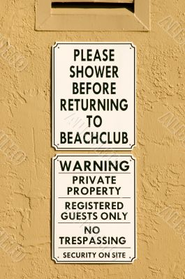 Beach Private Property Warning Signs