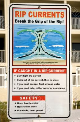 Rip Currents Warning Sign