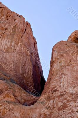 Crevice in Red Sandstone and Blue Sky