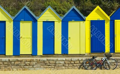 Blue and yellow changing rooms and bike