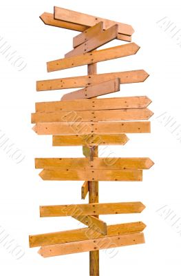wooden blank sign post