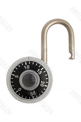 Unlocked combination padlock