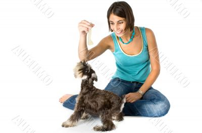Owner playing with puppy