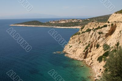 Rugged coastline on the small island of Thassos, Greece