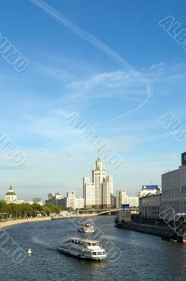 Sight at the river Moskva and a high-altitude building