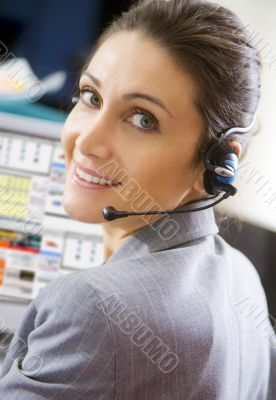 young switchboard operator representative smiling