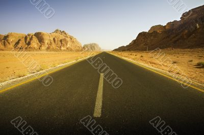 empty roadway in the desert