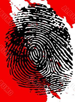 Black Fingerprint and blood splatter