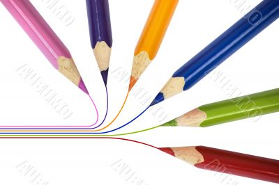 Pencils of different colors over white isolated