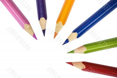 Pencils of different colors on white isolated