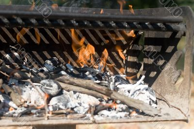Barbecue Grill with Fire - Close up