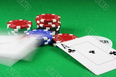 Poker - Beat that - A pair of aces thrown on the baize