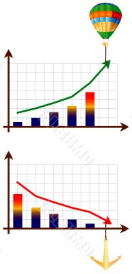 Diagrams of growth and downturn. The vector image.