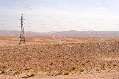 electric pylon in desert