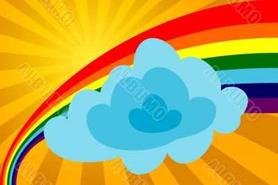 Sunny day with a rainbow and a cloud.