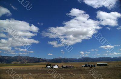 Big sky - western farm buildings