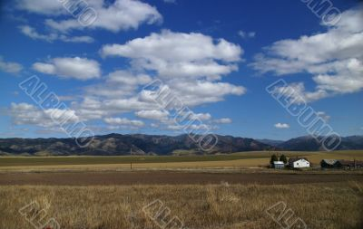 Big sky - western farm buildings