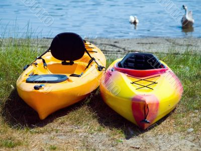 Two yellow boats