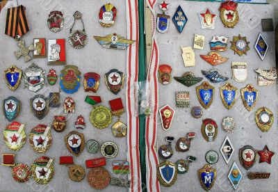 ussr badge collection in album