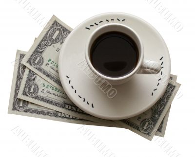 Cup of coffe and banknotes