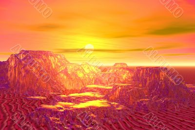 Golden landscape with mountains