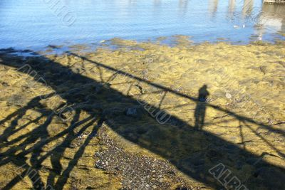 Low tide, shadows of pier