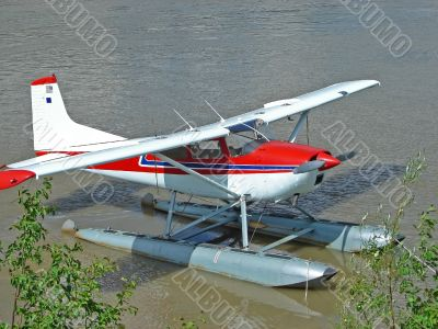 Red and White Float Plane