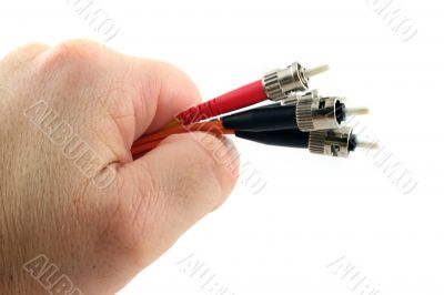 Fiber Optic Computer Cable held in the Hand