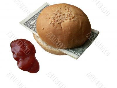 Business lunch with one dollar bill sandwich