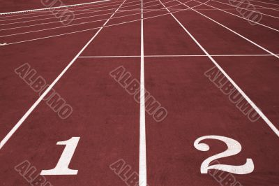 Running track with lane numbers