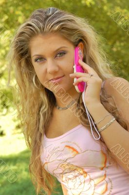 Young blond woman talking