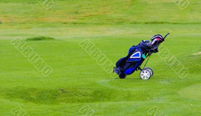 Golfing equipment in the bag